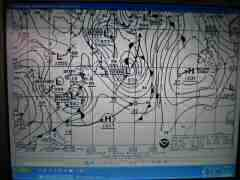 Storm forecast on the weather fax