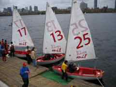 Tech dinghies getting ready to race