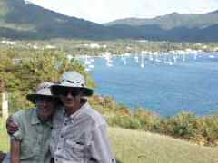 Beth and Ken at Fort Shirley, looking over Prince Rupert Bay