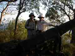 Bob and Ken admiring large cannon at Fort Shirley