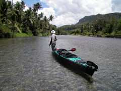 Attempting to kayak up Layou River
