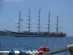 Graceful 5-masted ship in Portsmouth, Dominica
