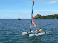 Couple from resort on Hobie Wave
