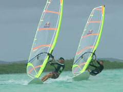 Greg and Tim showing expert windsurfing form