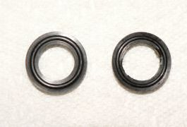 Comparing new and old piston shaft seals