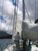 Flying gale sail off forestay