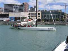America's Cup class boat takes off with guests