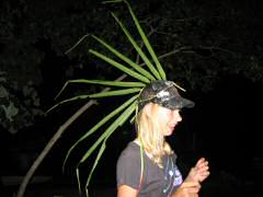 Christy and her creative palm frond headdress