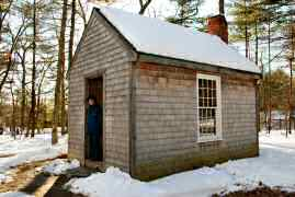 Replica of Thoreau's home in the woods
