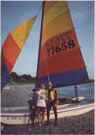 With MaryAnn Laird on the beach at South Haven, Michigan after sailing 'Northern Light' across Lake Michigan on our Hobie 16
